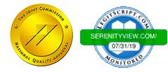 Joint Commission and Legitscript logos for Serenity View